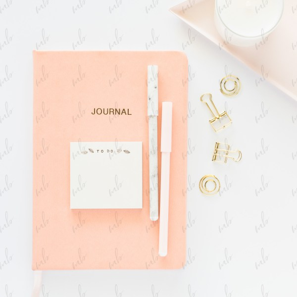 Peach and gold desktop styled stock photo bundle