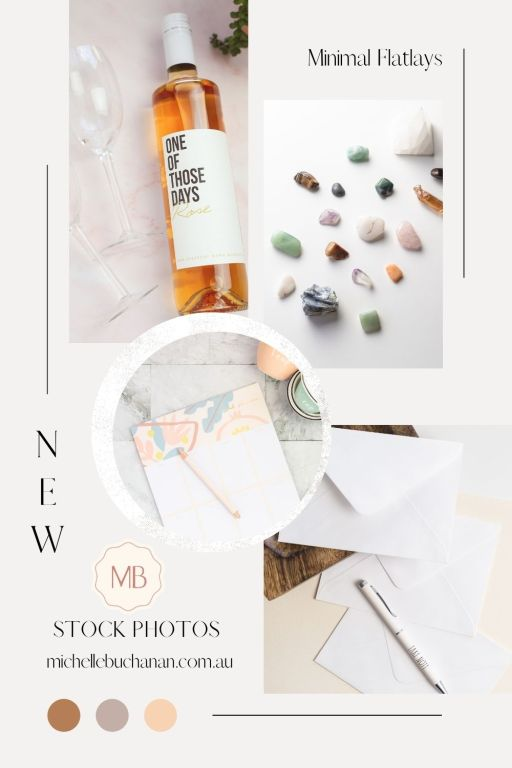 A mood board of photos from the minimal flatlay collection available in the Savvy Stock Shop