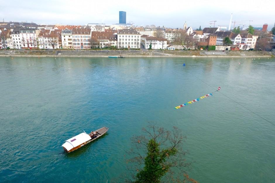 boat crossing the Rhine river