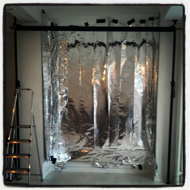 Why yes, I did paper my studio wall with tin foil !  #photography #technique #studio