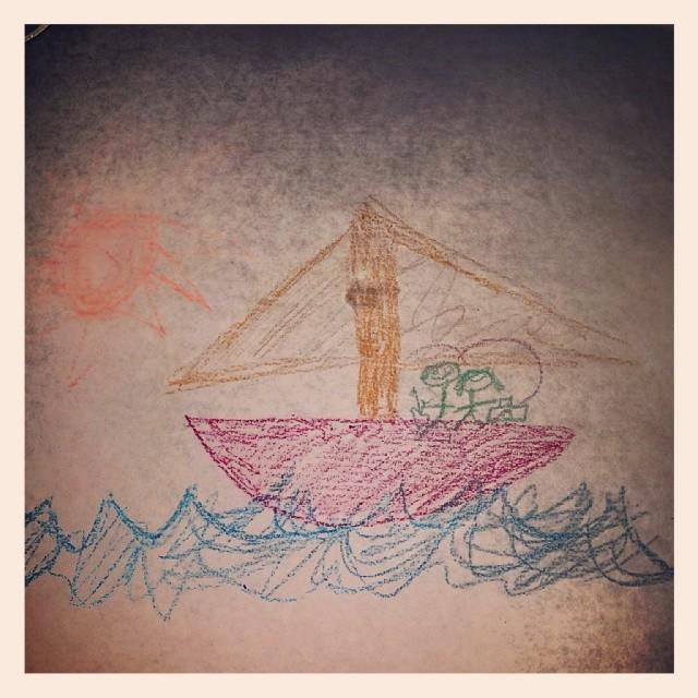 My masterpiece in #crayon #drawing #art #sailboat #sun #fun
