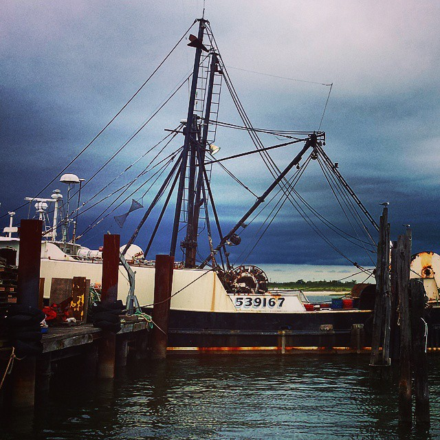 Point Lookout before a storm #longisland #longbeach #newyork #boats #fishing #blue #sea #ocean #green #dock #harbor