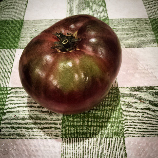 Black Tomato #tomato #checkered #fruit #green #stilllife #abundance #latesummer