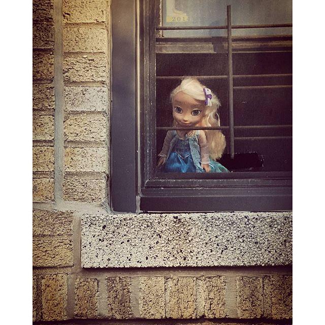 Elsa In The Window #elsa #frozen #disney #citylife #washingtonheights #uptown