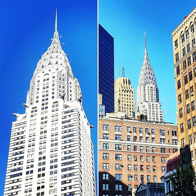 Chrysler Building, Two Views #landmark #skyscraper #newyork #newyorkphotographer #chryslerbuilding #nyc #manhattan #midtown #latergram