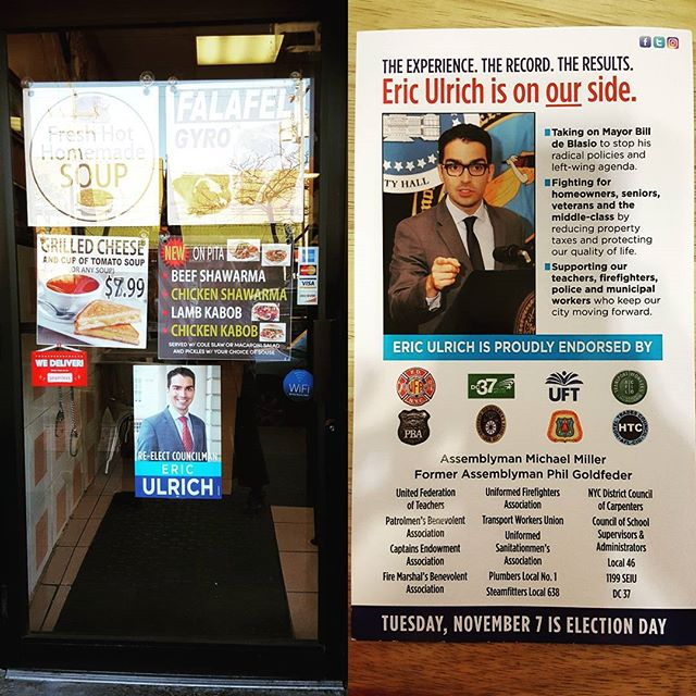 Love seeing my #photos of @ericulrich32 used on posters and palmcards displayed all over #qnsdistrict32.  #voteeric #nov7 #newyorkportraitphotographer #campaignphotos #10yearsworkingtogether #nycpolitics #queenspolitics #cityhall #newyorkcitycouncil #newyork #newyorkcity