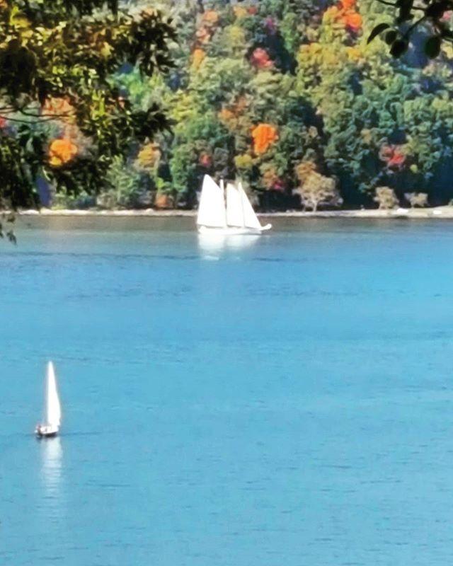 Two #Sailboats On The #Hudson #forttryonpark #latergram #fall #autumn #beautiful #sailing #newyork #newyorkphotographer  #hudsonriver