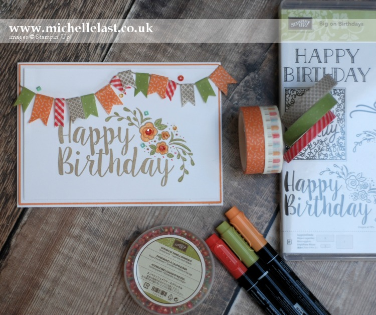Big on Birthdays Technique 101 Washi Tape Card