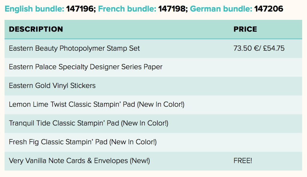 Eastern Palace Bundles from Stampin Up