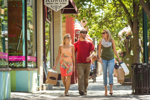 Shoppers enjoying a sunny day in Traverse City