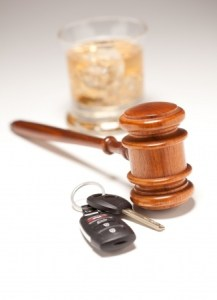 gavel, keys and alcohol