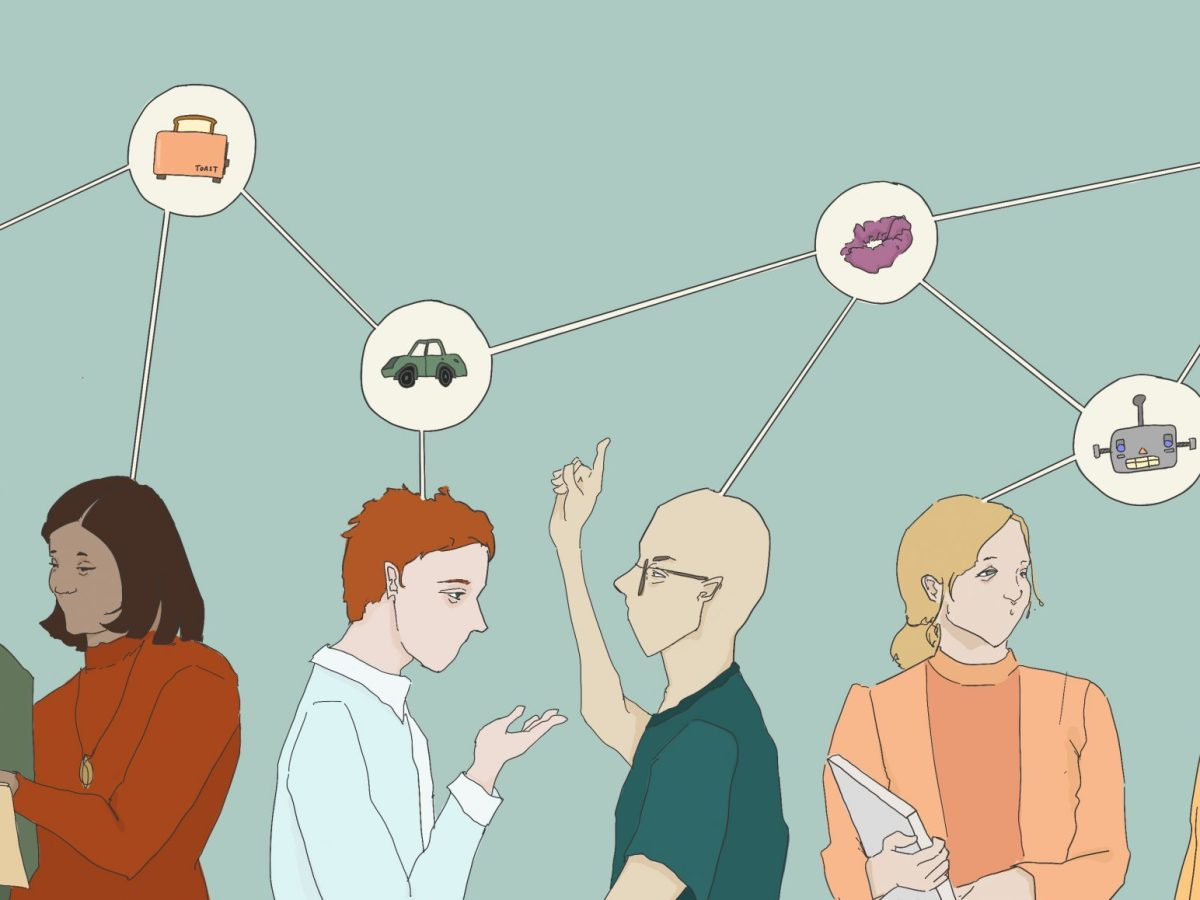 Students are discussing entrepreneurial ideas with one another. There's thought bubbles above their heads (featuring images such as cars, scrunchies and lightbulbs), and the thought bubbles are connected to one another.