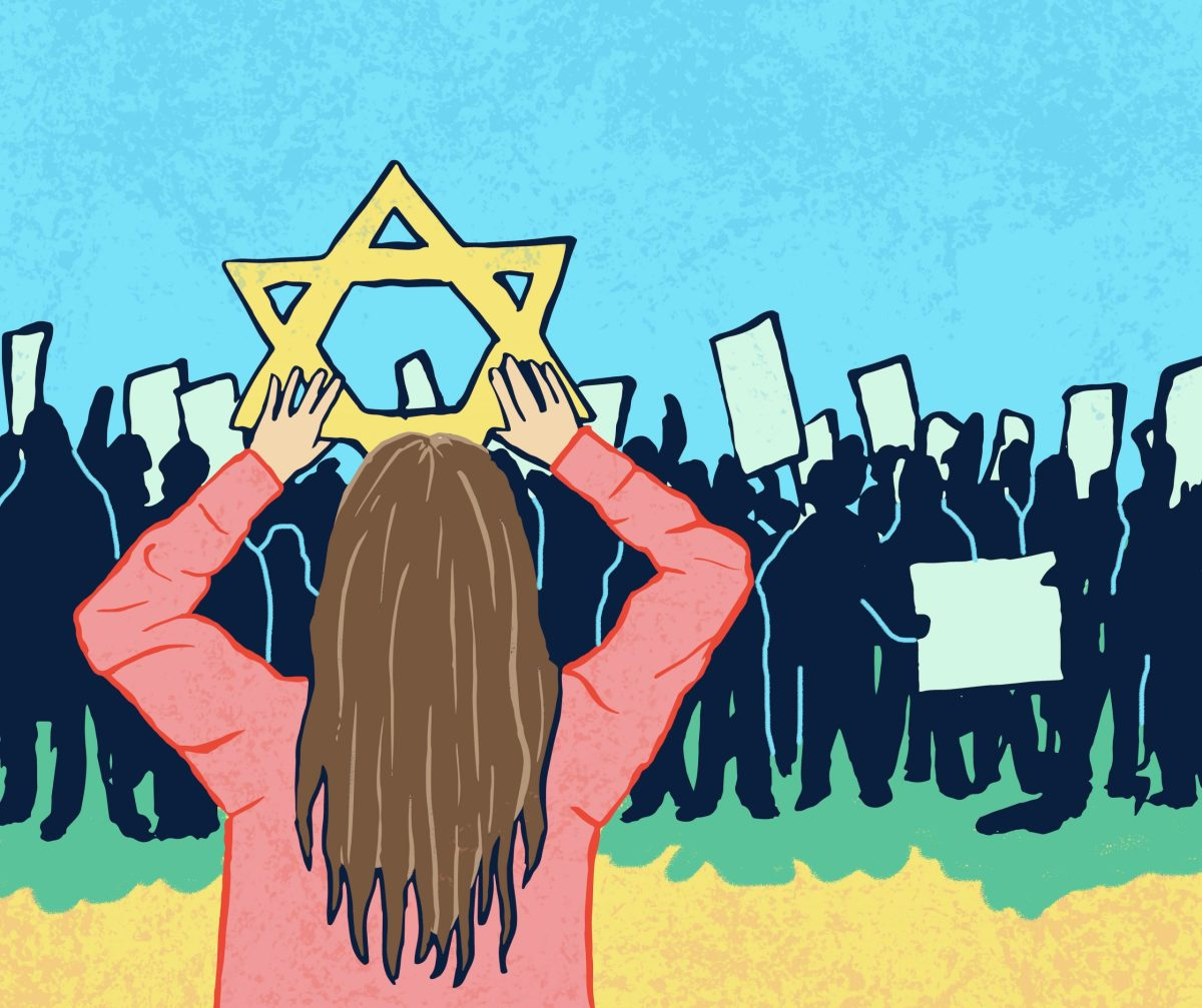 A person holding up a Jewish star in front of antisemetic protestors.