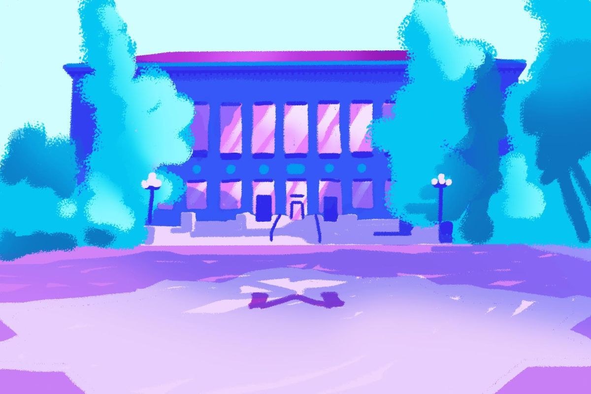 A drawing of the University of Michigan Diag.