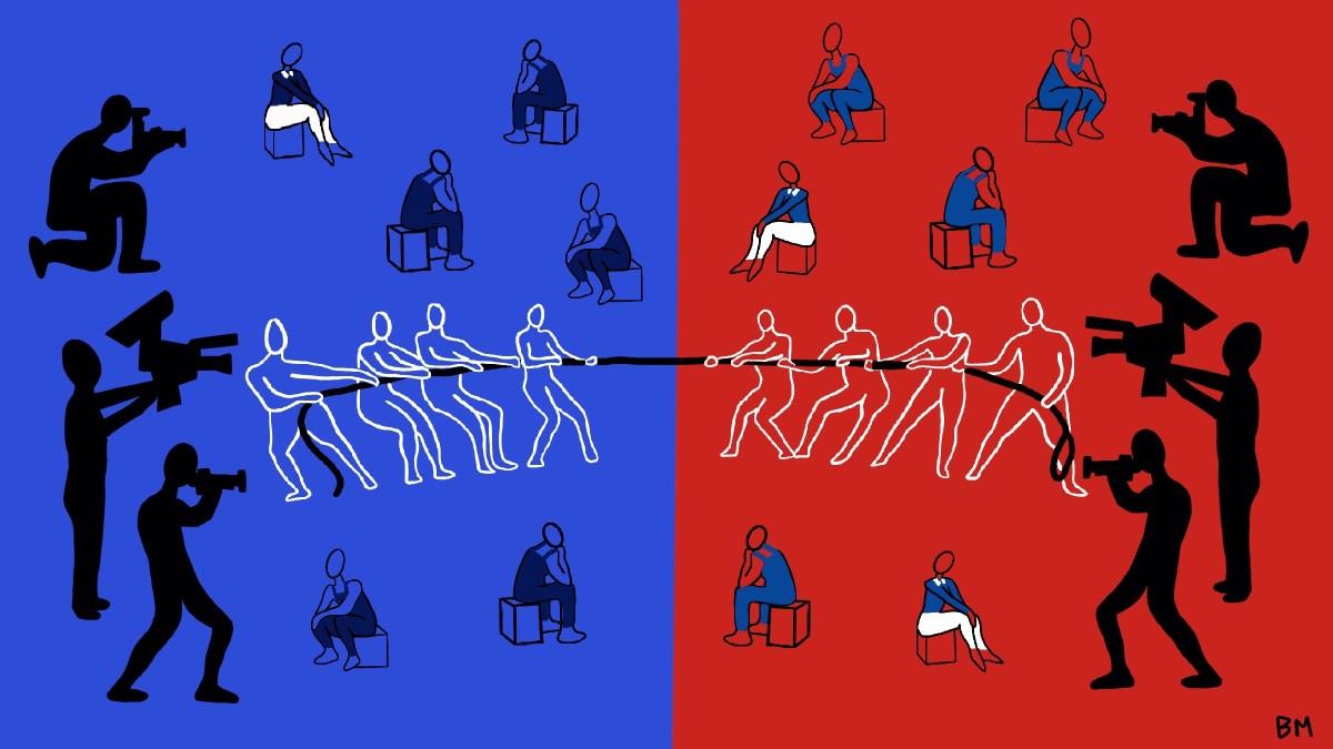 Blue/red split image playing tug of war