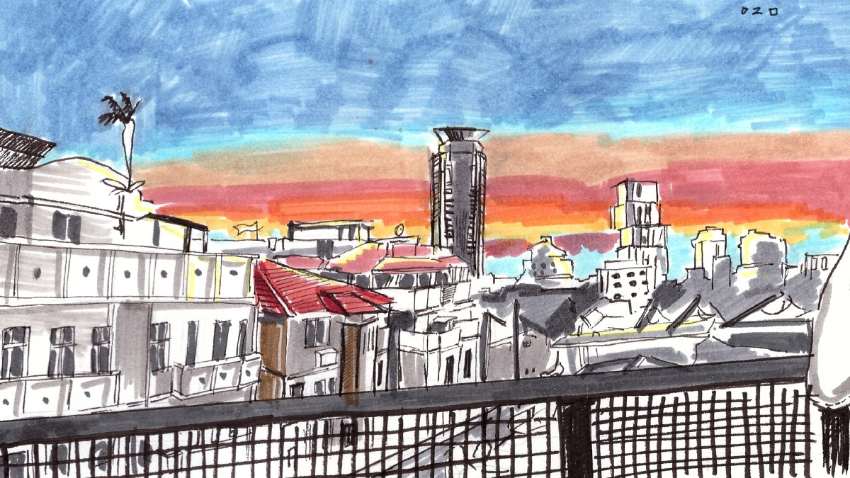 A drawn picture of buildings in Tel Aviv