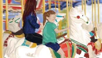 An younger female child and the adult version of herself riding the horses on a carousel.