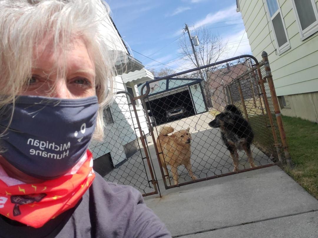 Woman helping dogs in Detroit's Warrendale neighborhood.