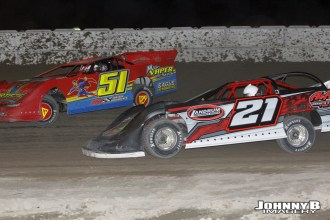 Steve Fairbanks (#51) racing with Tom Sprague, Jr (#21) during the Allstar Performance 50 at Winston Speedway. (John Berglund Photo)