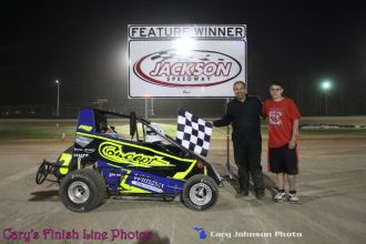 Danny Williams won the open non-wing micro sprint feature Saturday night May 2, 2015 at Jackson Speedway. (Cary Johnson Photo)