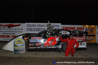 Zack Olger won the late model feature Saturday June 13, 2015 at Crystal Motor Speedway. (ROTW / Aaron Ridgeway Photo)