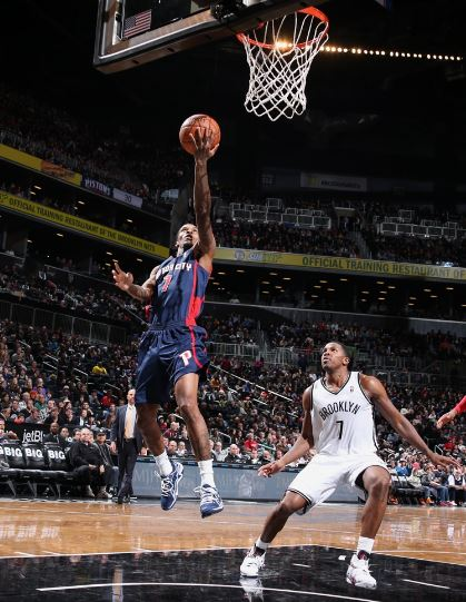 Brandon Jennings and the Pistons look to snap a three-game losing streak, and take their second of two games against the Nets this season (Photo courtesy of NBAE/Getty Images)