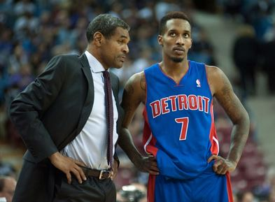 Detroit Pistons head coach Maurice Cheeks and point guard Brandon Jennings (7) chat during a free throw in the fourth quarter of the game against the Sacramento Kings at Sleep Train Arena. The Detroit Pistons defeated the Sacramento Kings 97-90  (Ed Szczepanski-USA TODAY Sports)