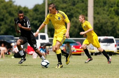 Ben Sweat, the Columbus Crew's selection with the 14th overall pick in the 2014 MLS SuperDraft, playing with the organization U-20 Junior team in 2011.