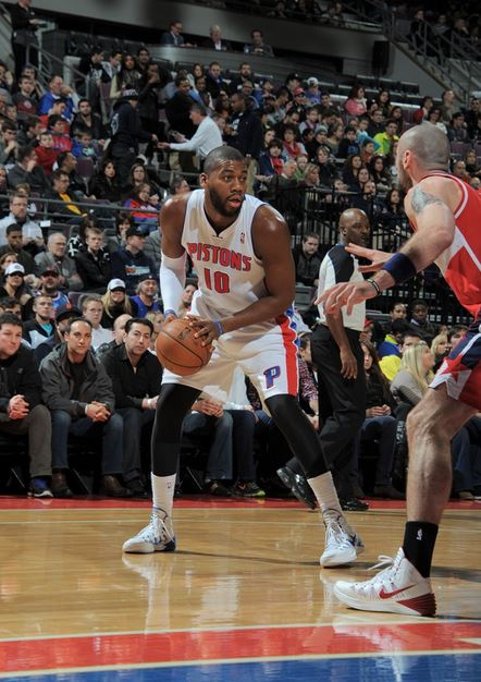 Greg Monroe and the Pistons hope to snap a three game losing streak on Sunday against Memphis (Allen Einstein NBAE/Getty Images)