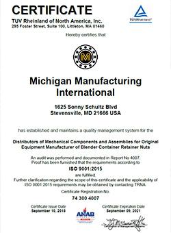 Michigan Manufacturing International Receives Iso 9001 2015
