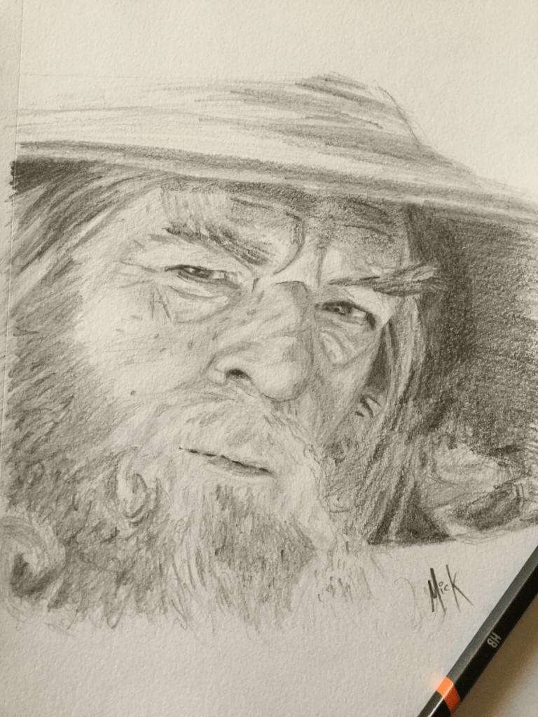 A pencil portrait sketch of Gandalf the Grey, as portrayed by Ian McKellen