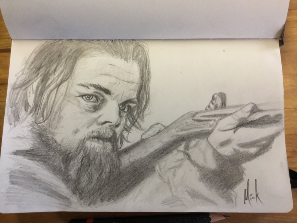 A pencil sketch portrait of Leonardo DiCaprio from The Revenant