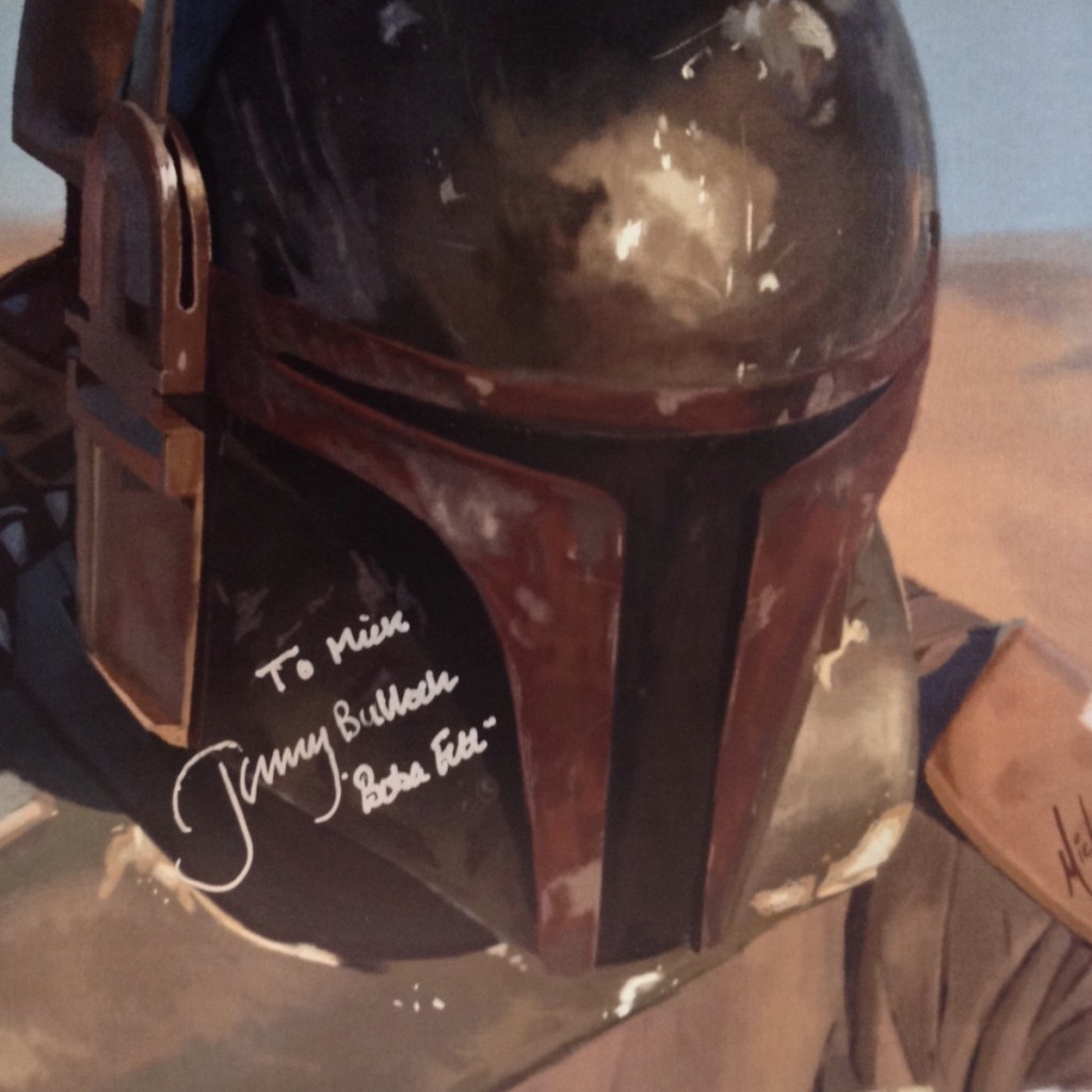 Digital painting of Boba Fett signed by actor Jeremy Bulloch