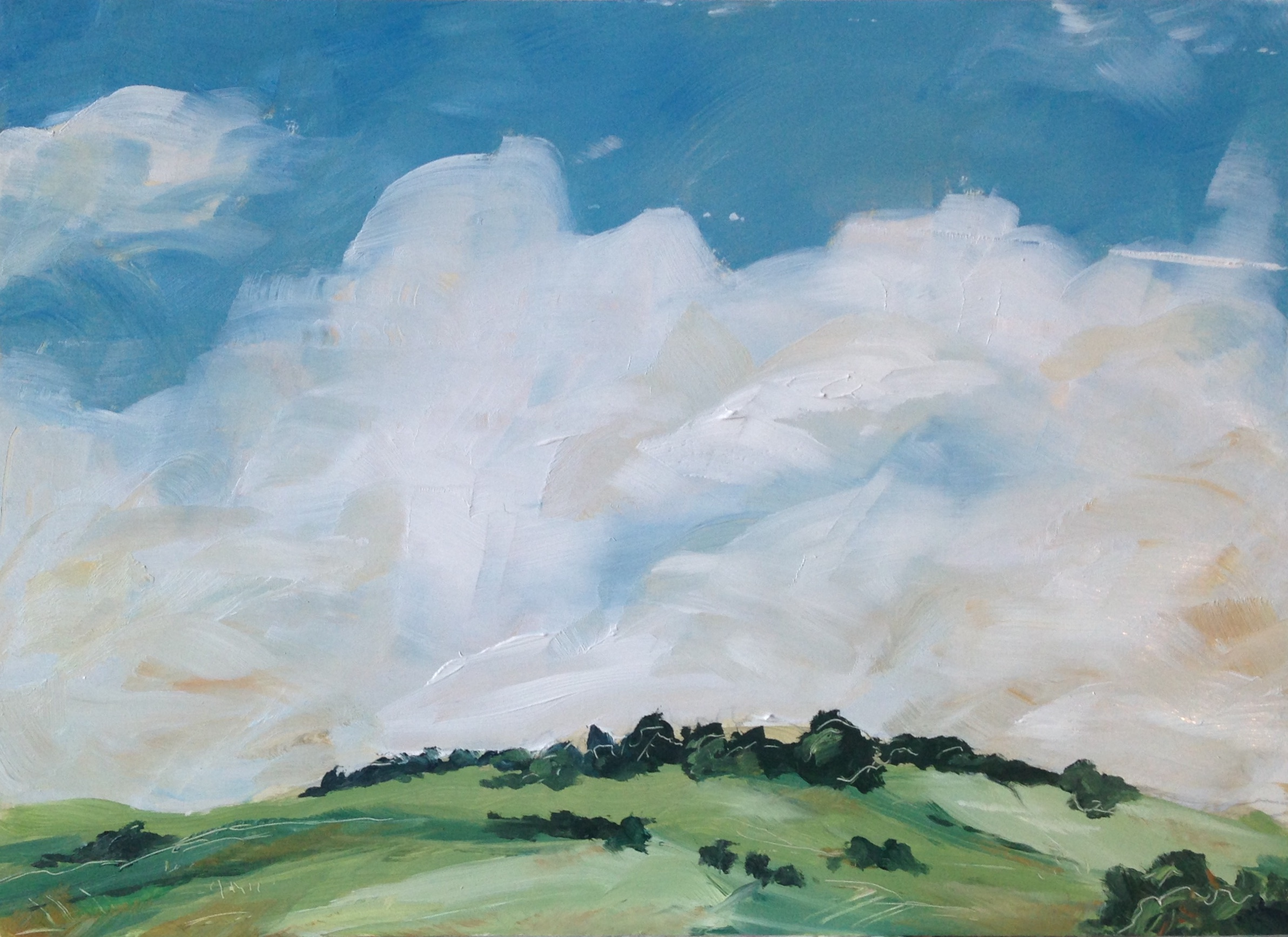 Derbyshire Dales Landscape painting in oils February 2018