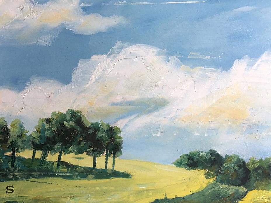 Landscape in oil paint on board by artist Michael Statham