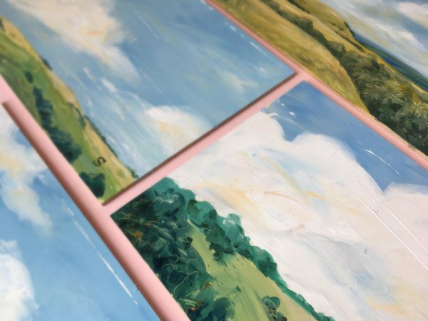 detail of Landscape in oil paint on board by artist Michael Statham
