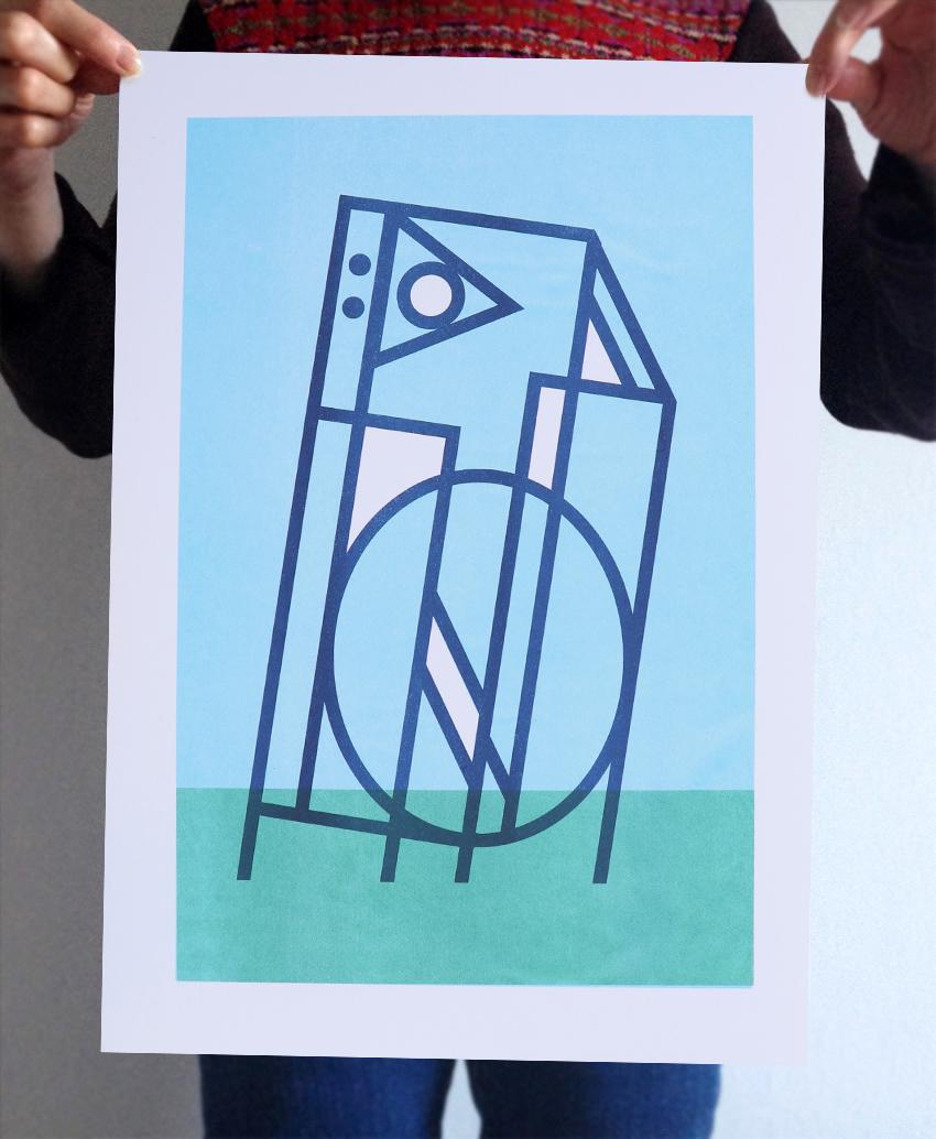 monolith a screenprint by artist Michael Statham
