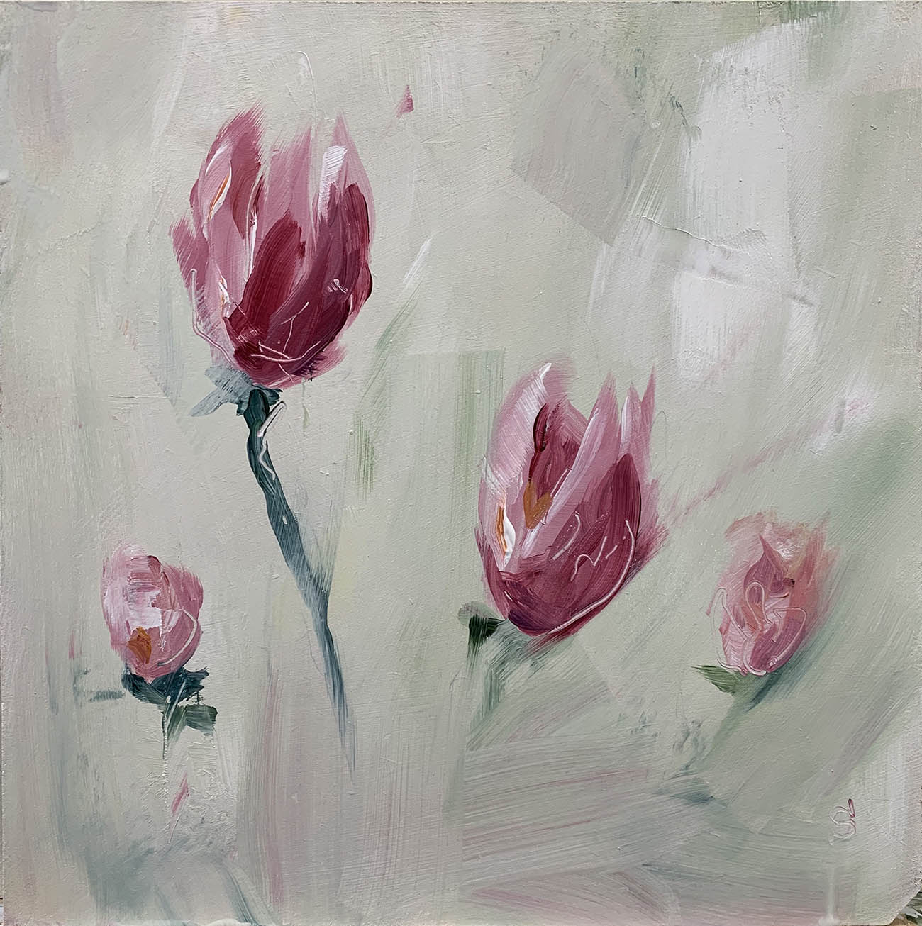 Tulip botanical in acrylic by artist Michael Statham