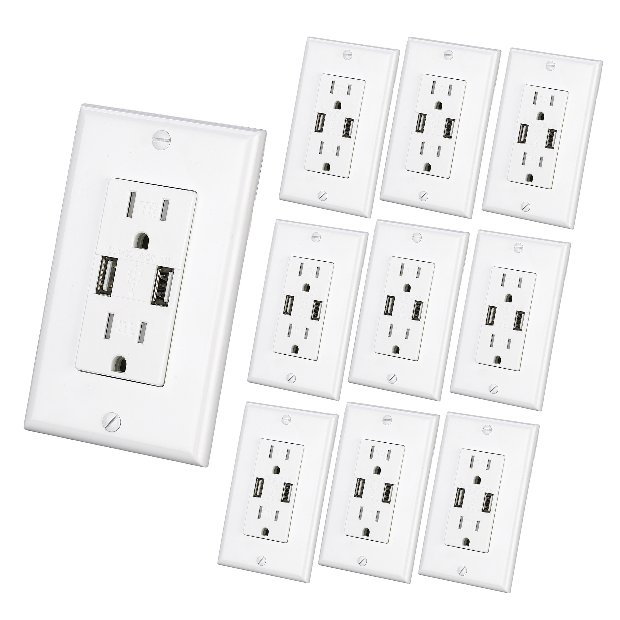 3 1a Usb Wall Outlet 10pack