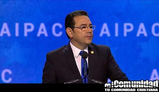 Presidente de Guatemala le dice a AIPAC que trasladará su embajada a Jerusalén en mayo