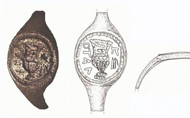 Las imágenes y los bocetos asociados del anillo de sellado que se piensa han pertenecido a Poncio Pilato (Dibujo: J. Rodman; Foto: C. Amit, Departamento Fotográfico de la IAA, a través de la Universidad Hebrea)