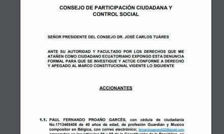 Ciudadano denuncia violación de la Constitución en la consulta popular y referéndum ante CPCCS