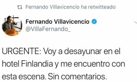 Villavicencio difunde fotos de reunión clandestina.