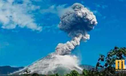Volcán Reventador emitió ceniza y vapor