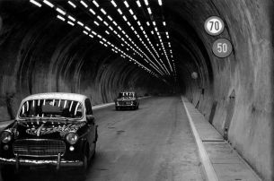 Road traffic in the Mont Blanc Tunnel. Valle d'Aosta, July 1965 *** Local Caption *** _