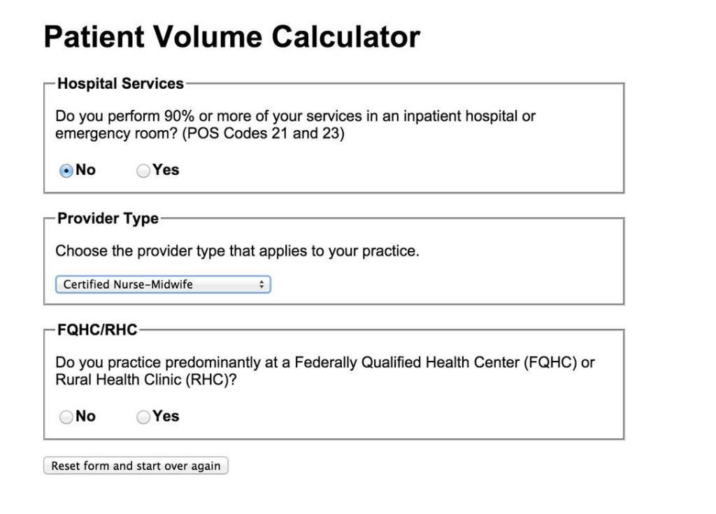 Example Patient Volume Calculator