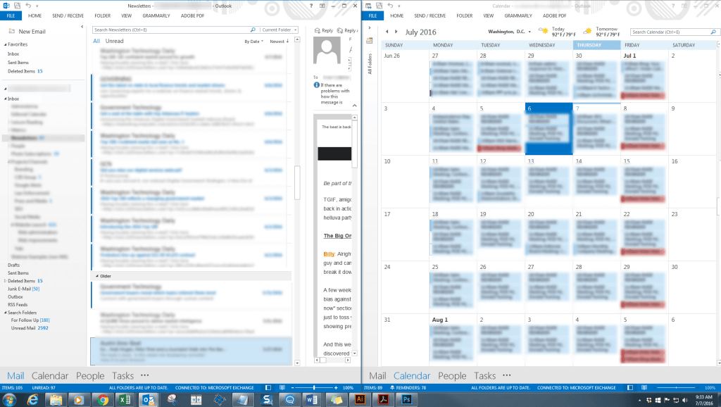 Outlook displaying mail and calendar side by side
