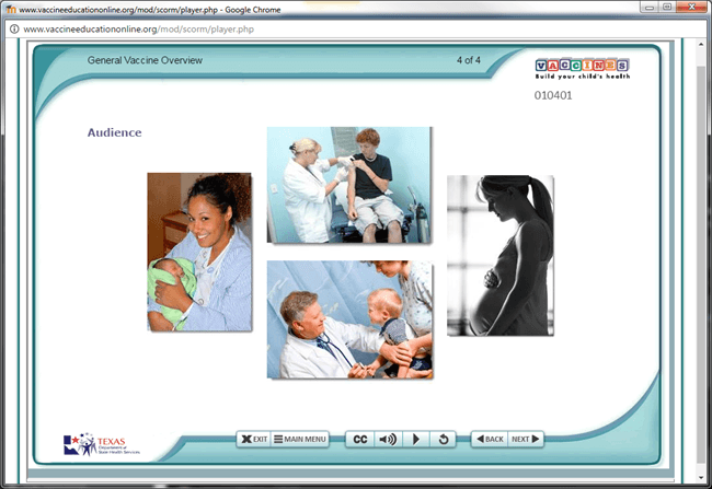 Screen shot of Vaccine EducationOnline.org, showing images of some of the audiences targeted. Examples show a young mother with a newborn, a teen with a nurse, a doctor, and a pregnant woman.