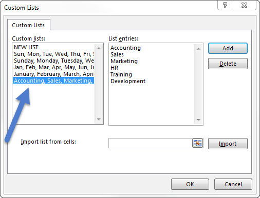 Custom Lists window with the new list highlighted at the bottom of the default custom lists.