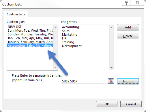 Custom List dialog window showing new custom list after using import feature.